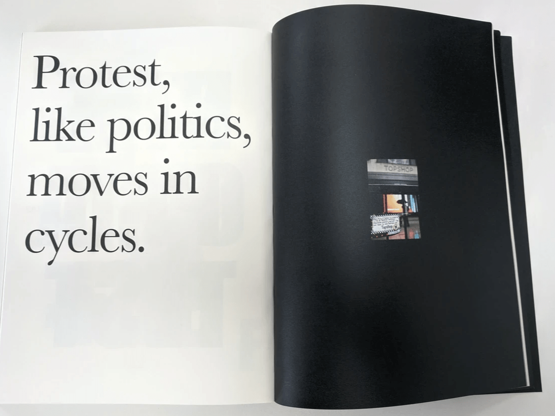 Black text on white page. Protest, like politics, moves in cycles.