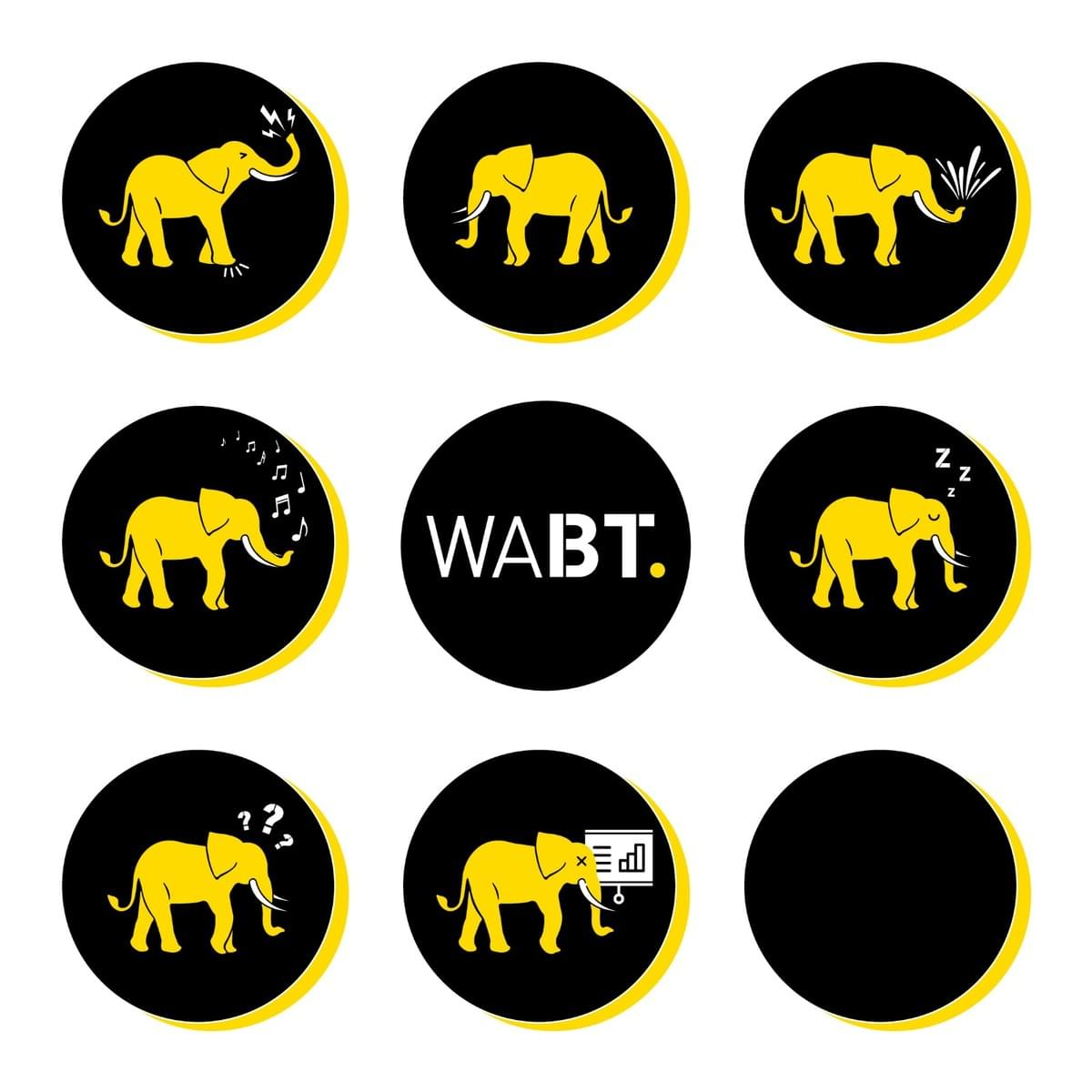 We Are Brass Tacks. Internal Communications Consultancy. 3x3 grid of black circles with yellow elephants inside.