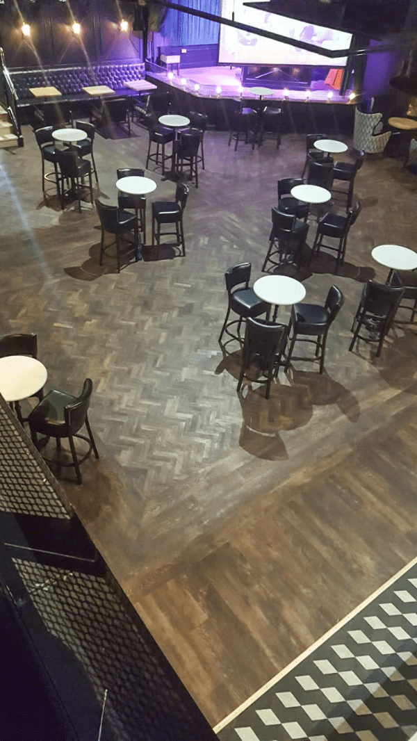 Complete fit out of flooring to Jerry Flannerys Night club using Moduleo LBT. Flooring by LRK Flooring.