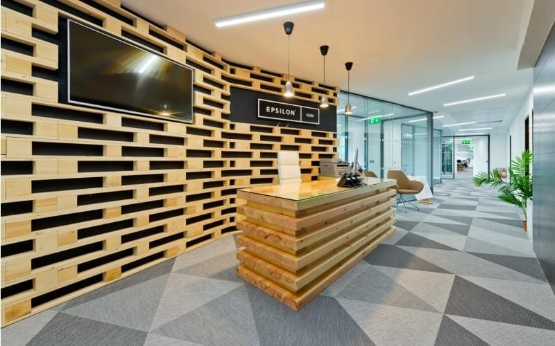 Modern Office Building at Epsilon in Dublin. Flooring by LRK Flooring.