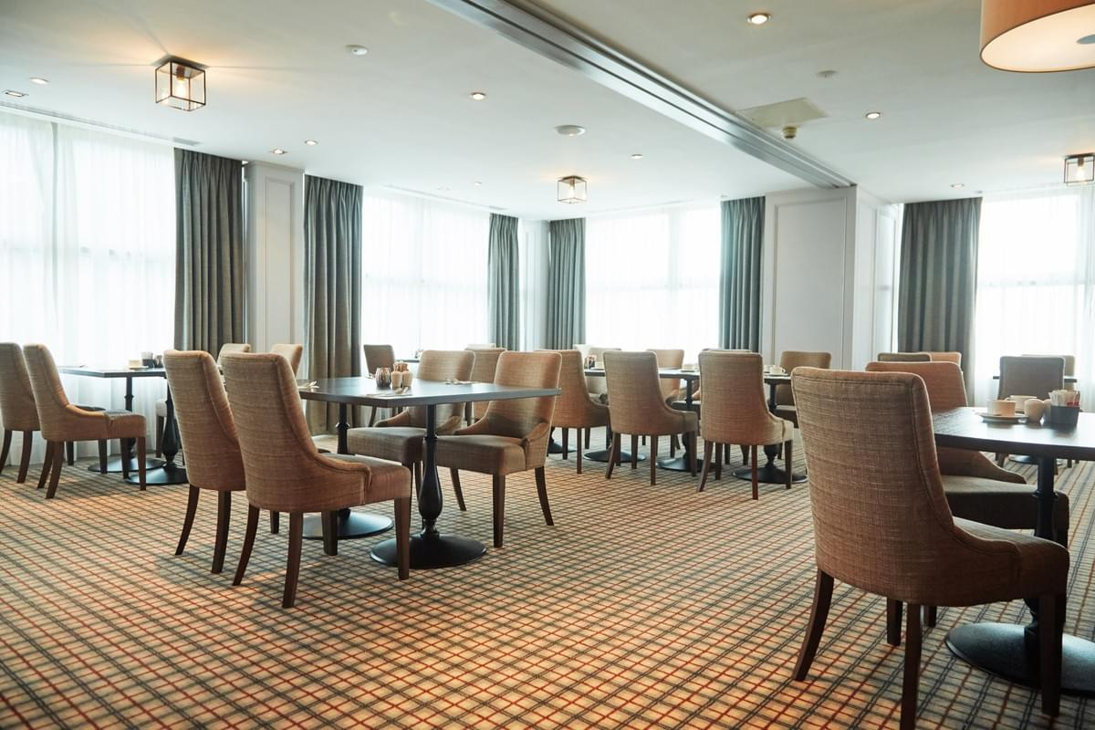 Refurbished Restaurant at Radisson Blu Hotel & Spa, Little Island Cork. Flooring by LRK Flooring.