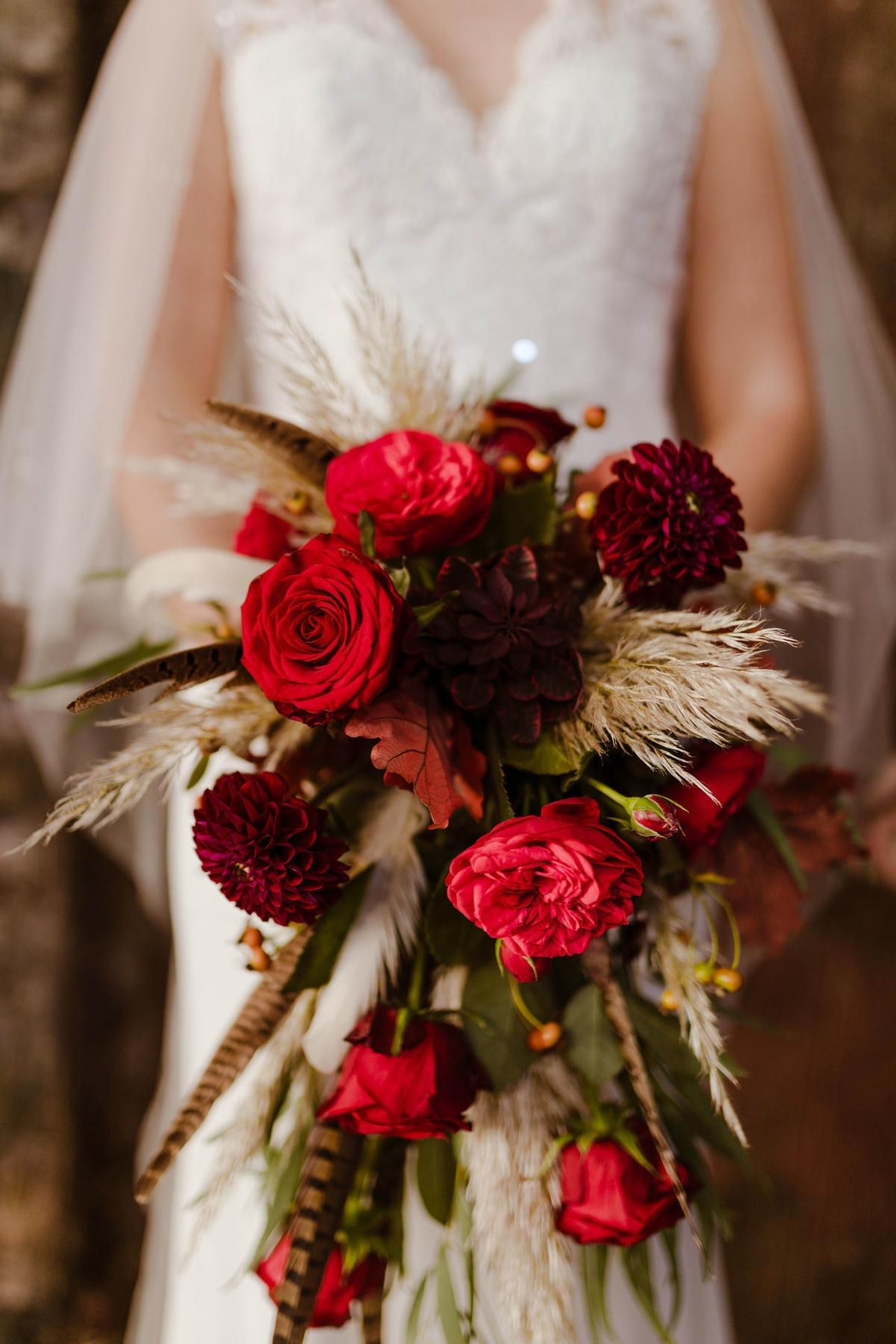 Autumn wedding bouquet red roses