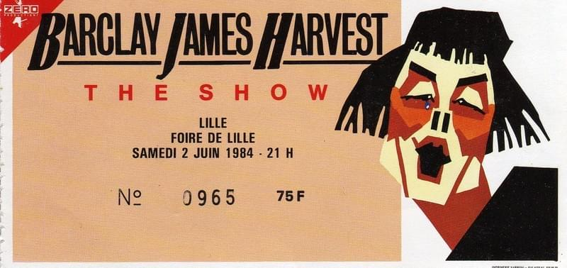 lille ticket billet place concert Barclay James Harvest, 21 novembre 1984
