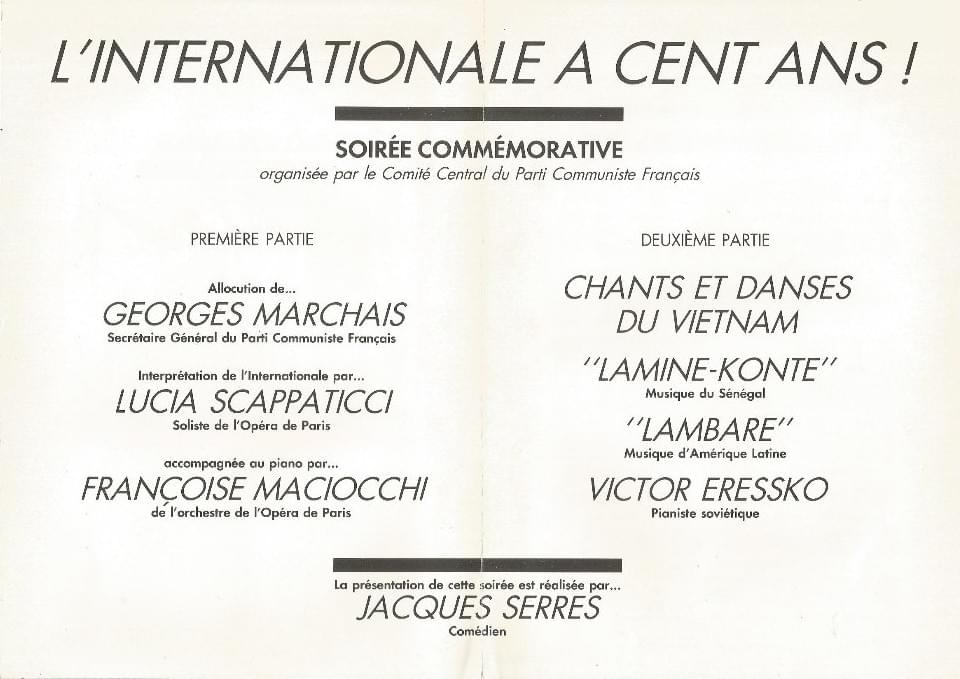 lille pierre degeyter hymne l'internationale invitation centenaire opera georges marchais