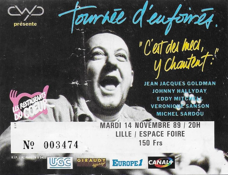 jean-jacques goldman ticket billet place de concert lille les enfoiré tournée d'enfoirés 1989