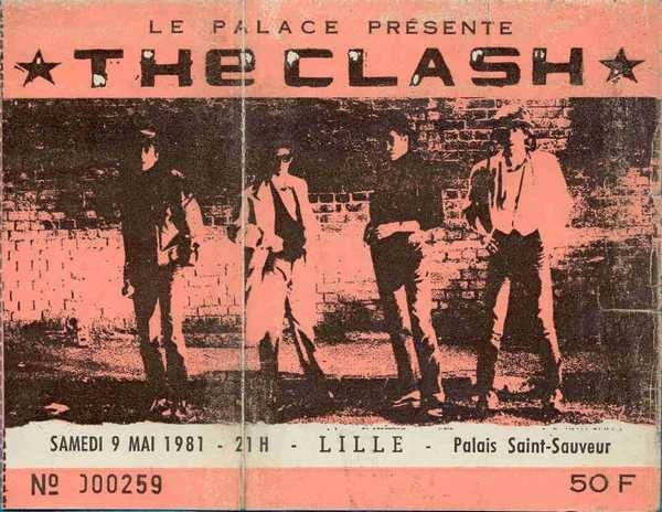 lille ticket billet place concert The Clash, Palais Saint-Sauveur, 9 mai 1981