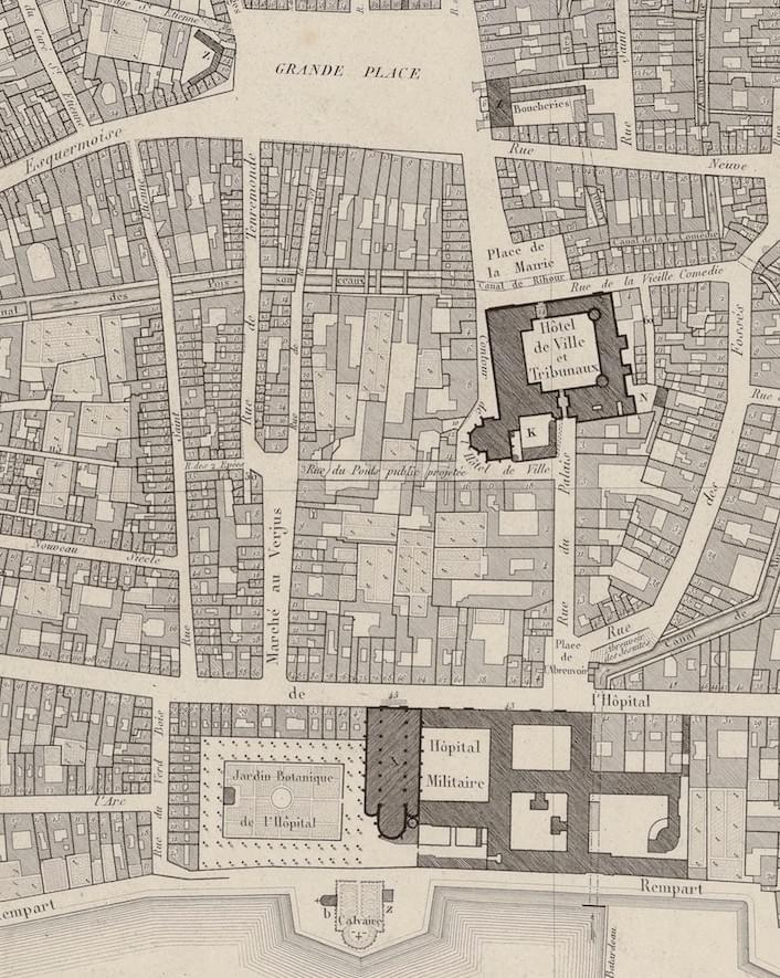 Lille rue nationale plan de 1820