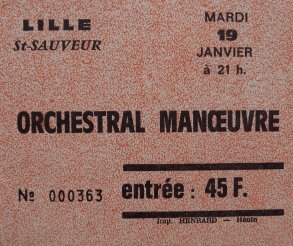 lille ticket billet place concert OMD (Orchestral Manoeuvre in the Dark), Palais Saint-Sauveur, 19 janvier 1982