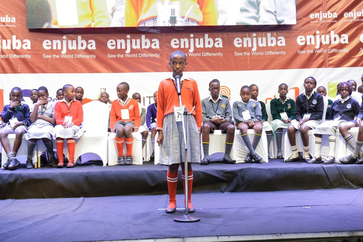 Alinda Adelin Byamugisha spelling at the 2017 enjuba National Spelling Bee Championship