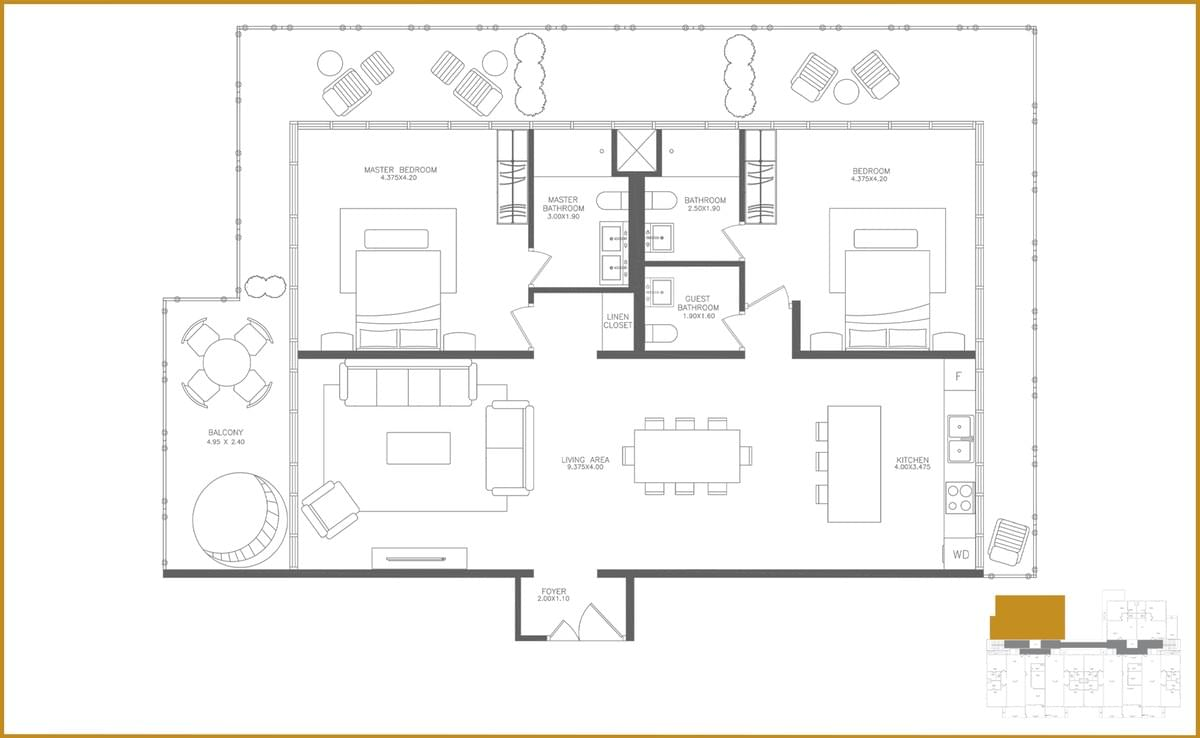 This picture shows the floor plan of the Penthouse Two.