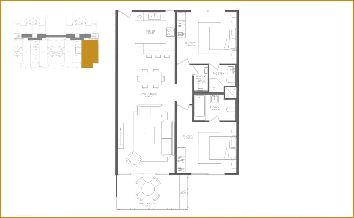 This picture shows the floor plan of the Two Bedroom Executive apartment.