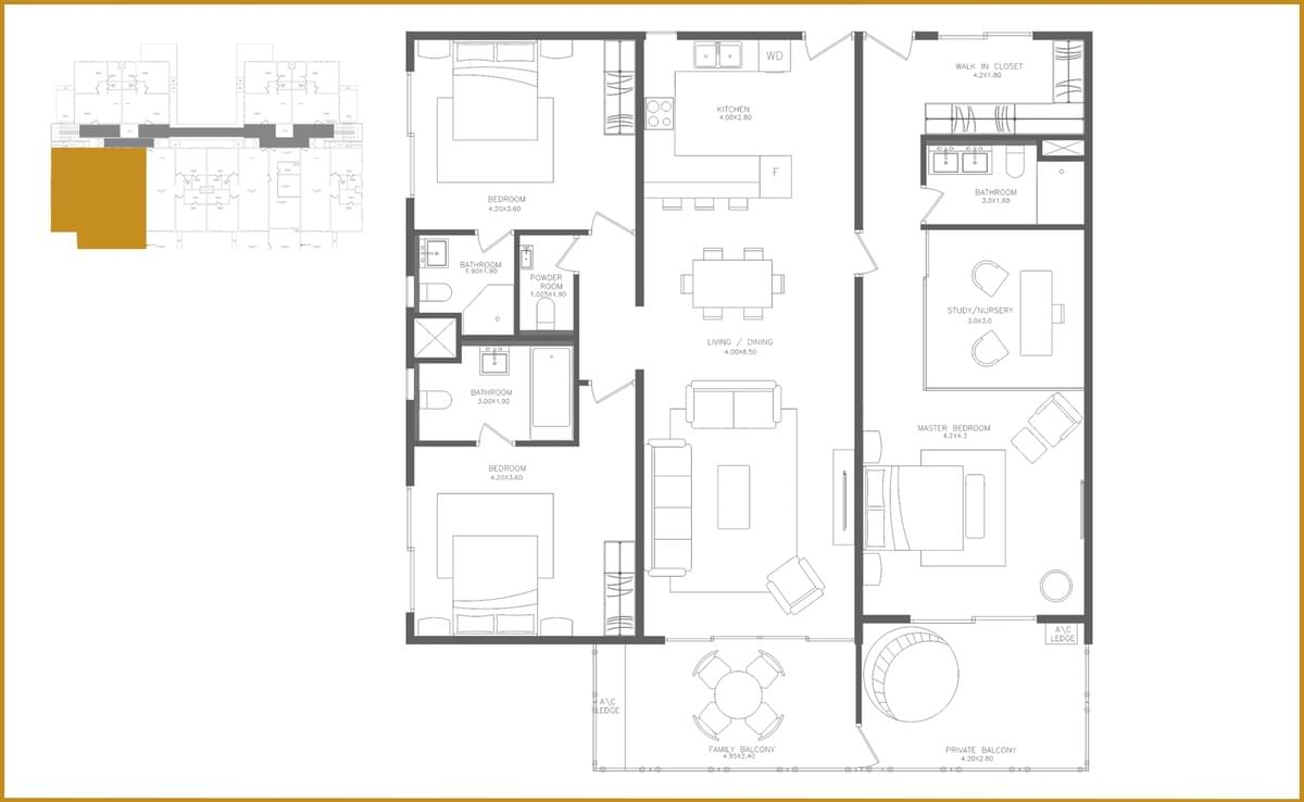 This picture shows the floor plan of the Three Bedroom Executive apartment.