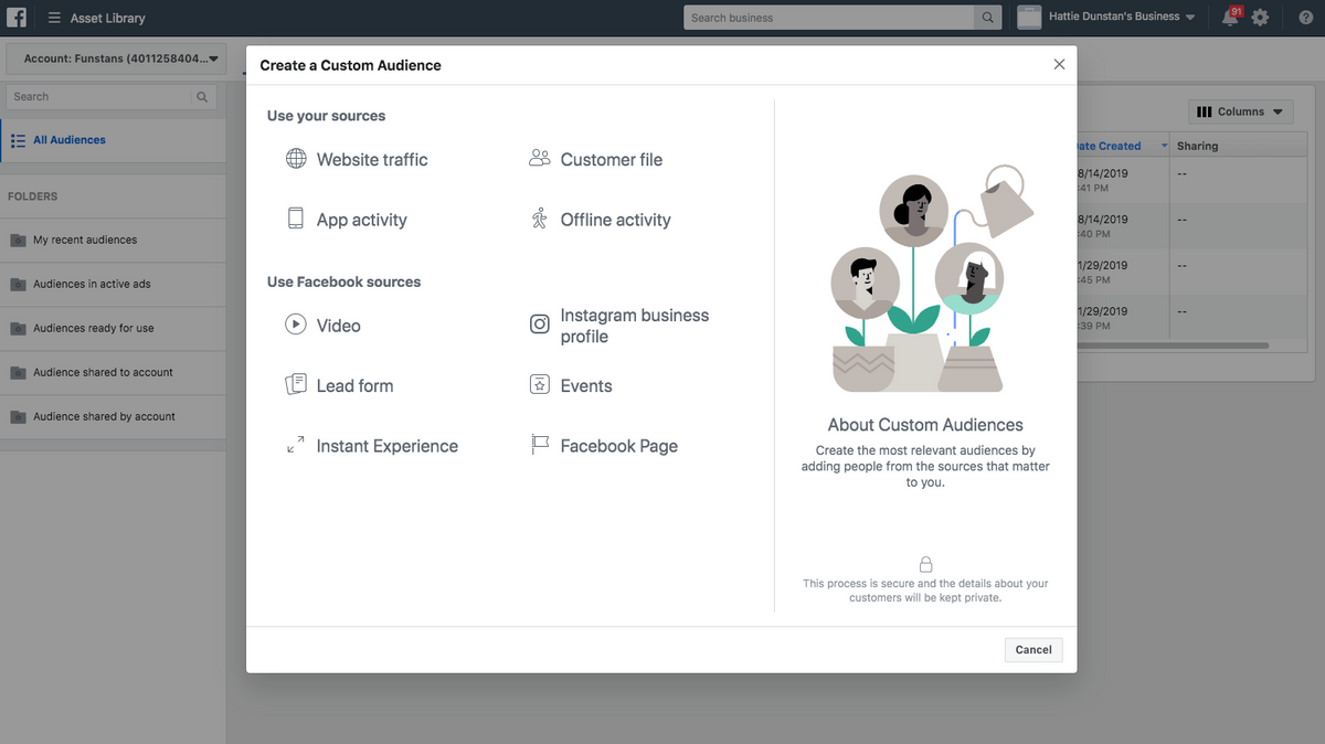 different types of custom audience creations in facebook ads manager