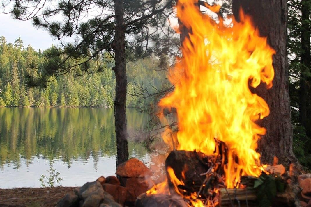 campfire on a Temagami lake