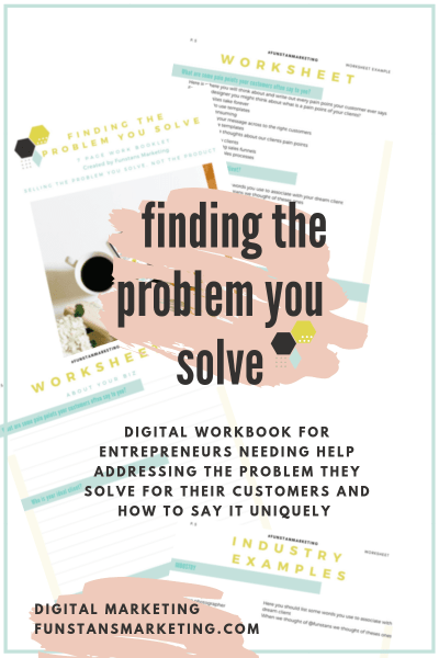 digital work book to help entrepreneurs find the problem they solve