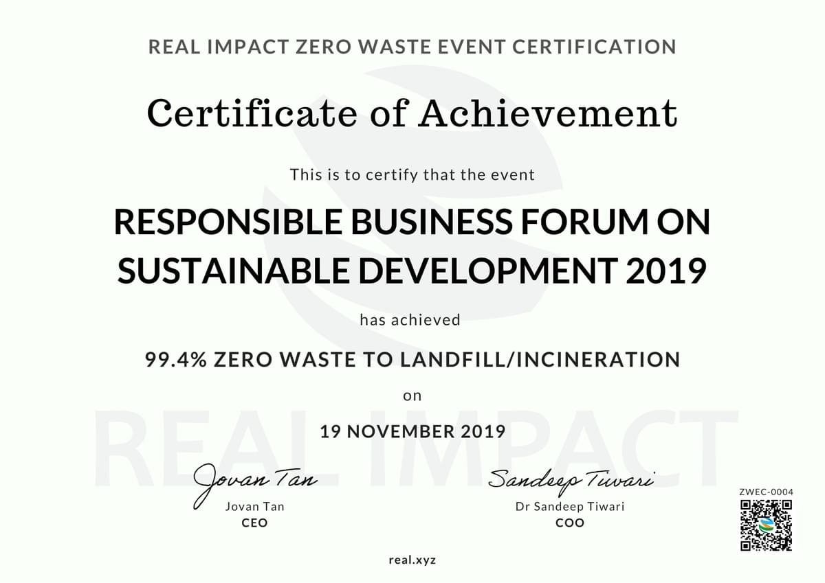 Responsible Business Forum on Sustainable Development 2019 99.4% Certified Zero Waste Event