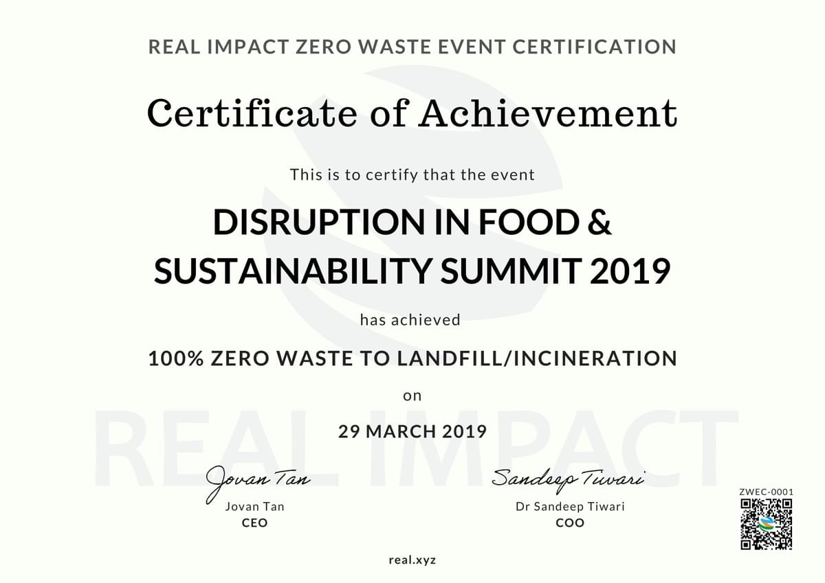 Disruption in Food and Sustainability Summit 2019 100% Certified Zero Waste Event