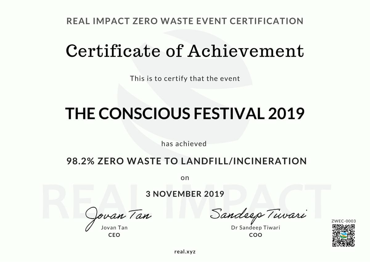 The Conscious Festival 2019 98.2% Certified Zero Waste Event