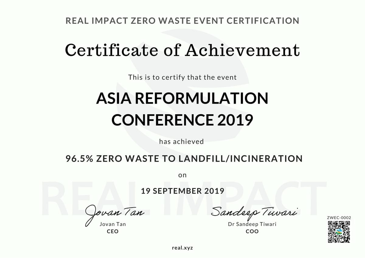 Asia Reformulation Conference 2019 96.5% Certified Zero Waste Event