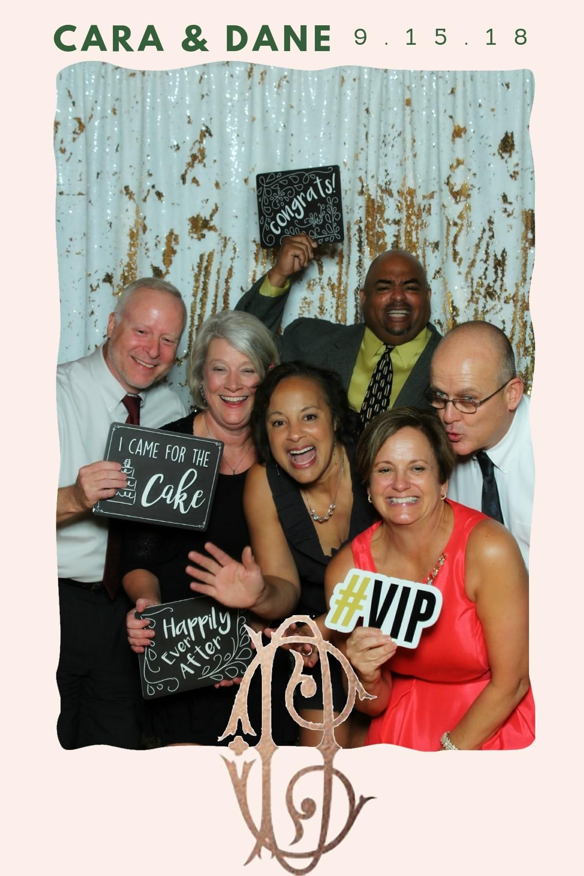 Happy guests at the Stone Ridge Hollow wedding with The Magic Selfie Mirror.