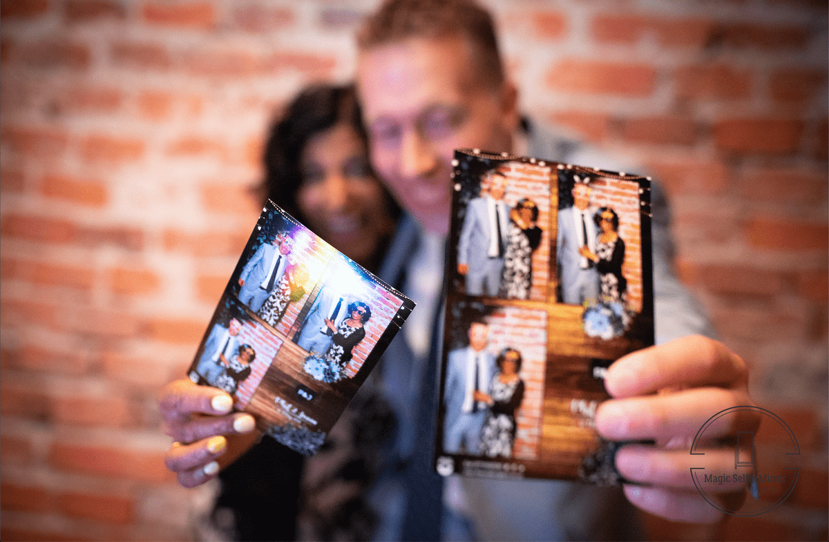 custom photo booth prints with the Magic Selfie Mirror