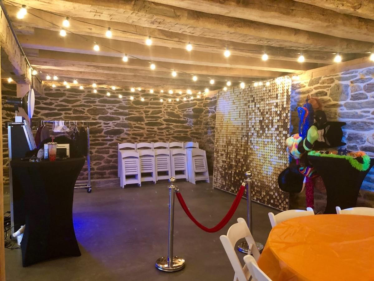 Cocktail area with Magic Selfie Mirror at Pine Ridge Farm in Stewartstown