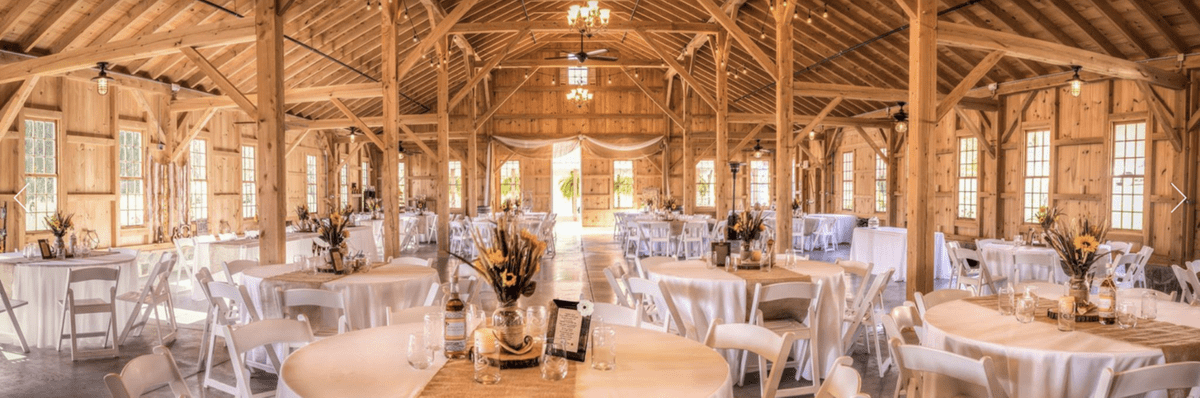the interior of the Pond View Farm wedding venue in Northern Harford County, Maryland
