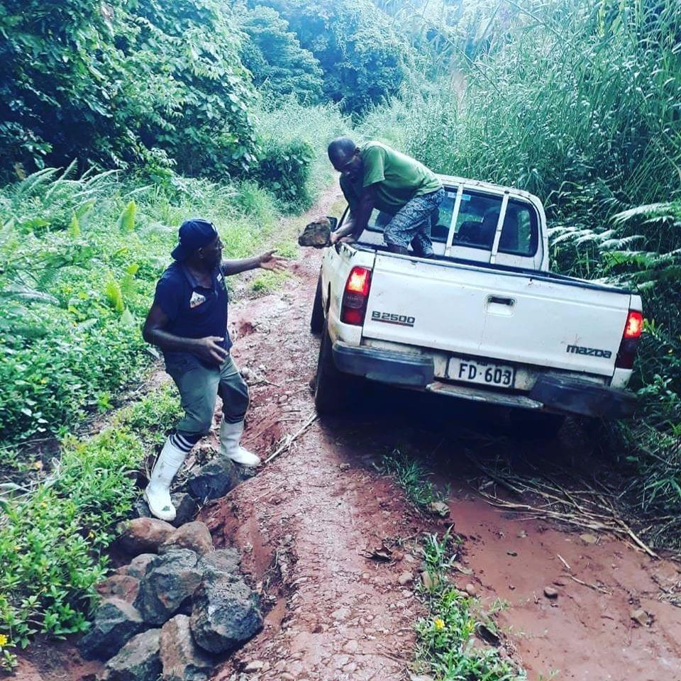 cacao fiji crew fixing farm road to get by