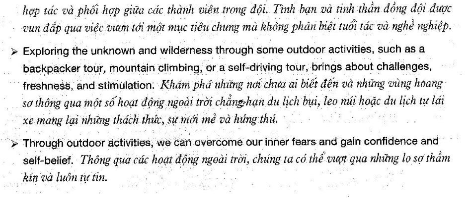 Từ vựng về Describe your favourite outdoor activity