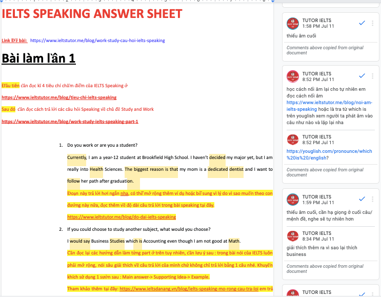 Sửa chi tiết 2 lần Câu hỏi Part 1 IELTS SPEAKING: ​Do you work or are you a student?