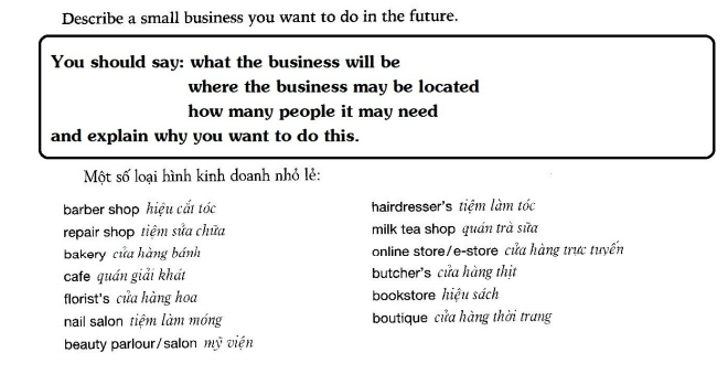 Describe a small business you want to do in the future