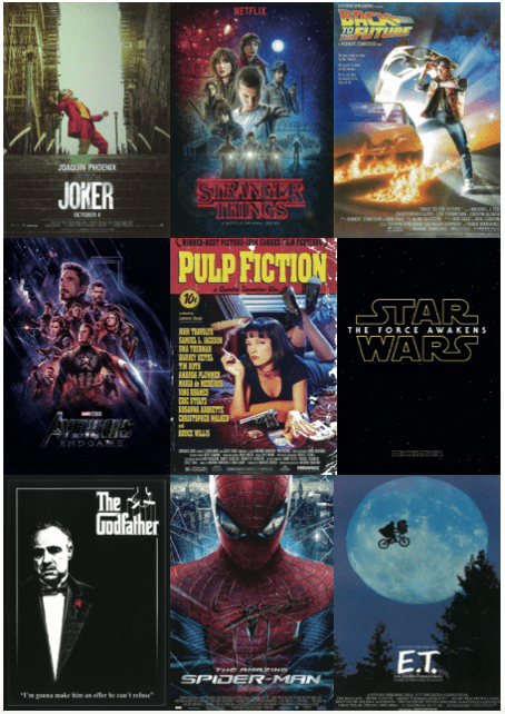 film posters - joker, stranger things, back to the future, avengers endgame, pulp fiction, star wars, the godfather, spiderman, e.t.