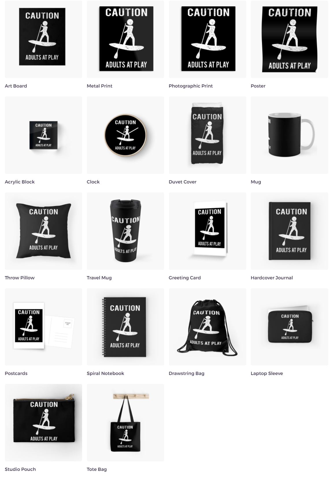 Paddle boarding Mug, Cards, Pillows, Totes, and more