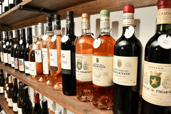 European wines on a retail store shelf