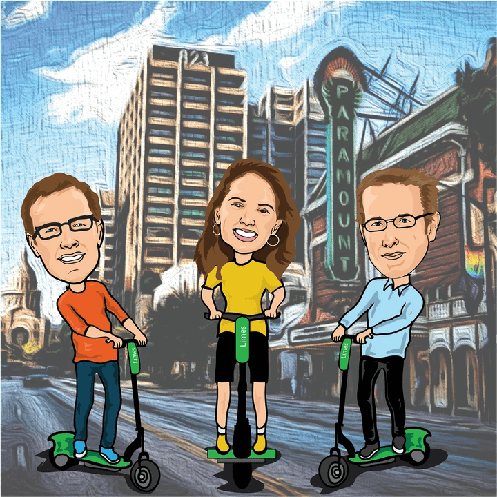 Caricature portraits of Lance Akins, Marilee Parsons, and Rob Butler from the CrossVergence team set against an illustrated backdrop of Austin, Texas.