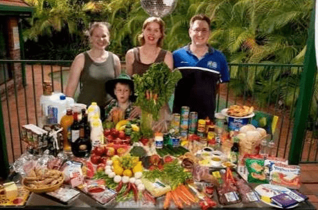 Photo of what an average family like the Molloys eat each week