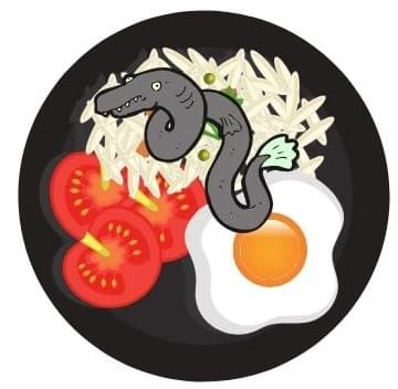 Cartoon eel on a dinner plate