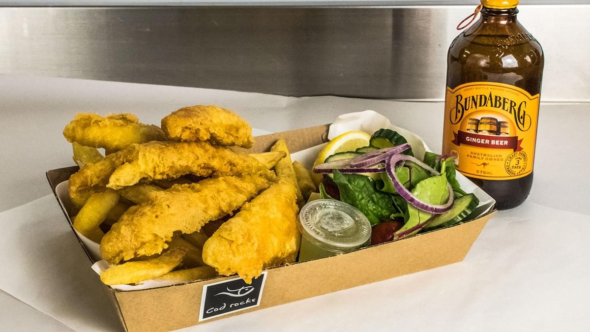 Cod Rocks Whiting chips salad and ginger beer