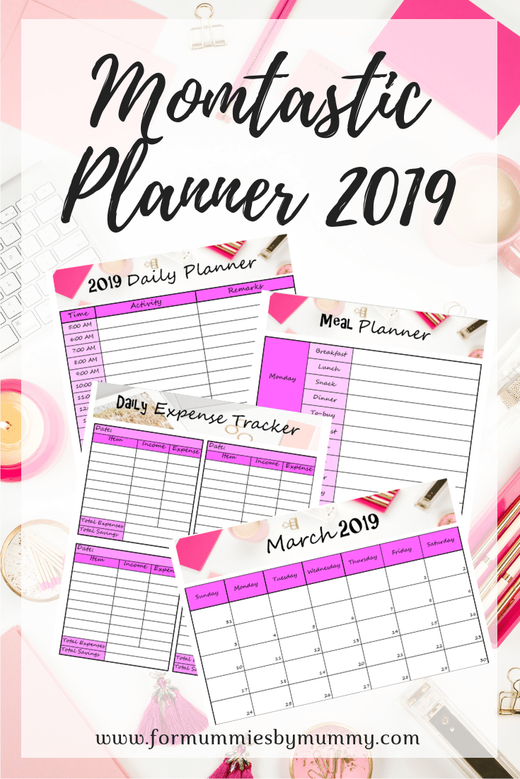 Free printable planner 2019. Daily, weekly, monthly schedule. Free calendar printable. Time management for busy moms. Expense tracker. Meal planner. #printable #planner2019