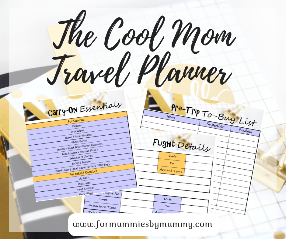 the cool mom travel planner. Free printable travel planner and packing list for moms. #freeprintables #travelplanner #packinglist #momplanner #freeplanner