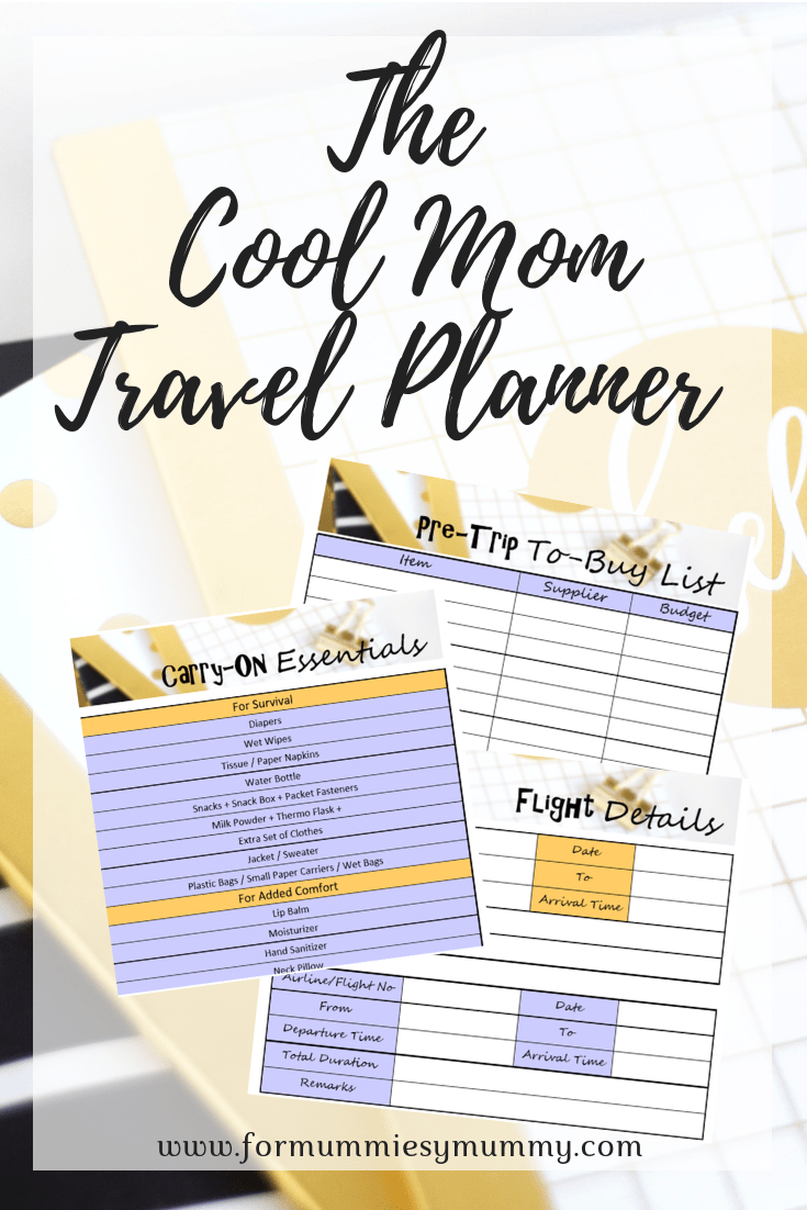 The Cool Mom Travel Planner. Travel Planner for keeping your vacation planning organized
