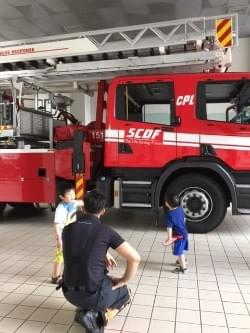 looking at the huge fire truck at scdf fire station open house