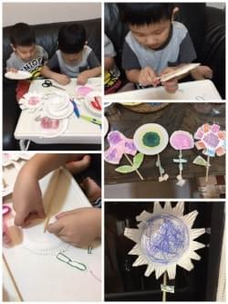 boy doing flower craft