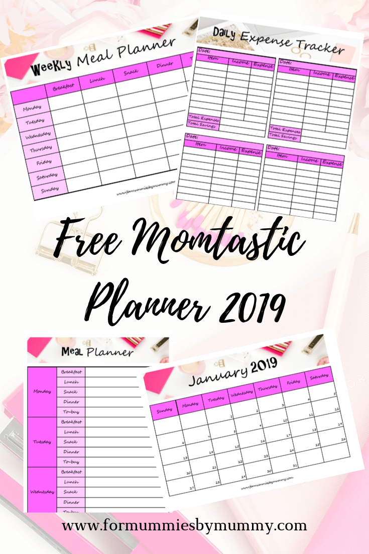 Mom planner 2019. Daily, weekly, monthly schedule. Free planner printables. Meal planner. Party planner. Expense tracker. Time management for busy moms. #busymoms #planner2019 #printables
