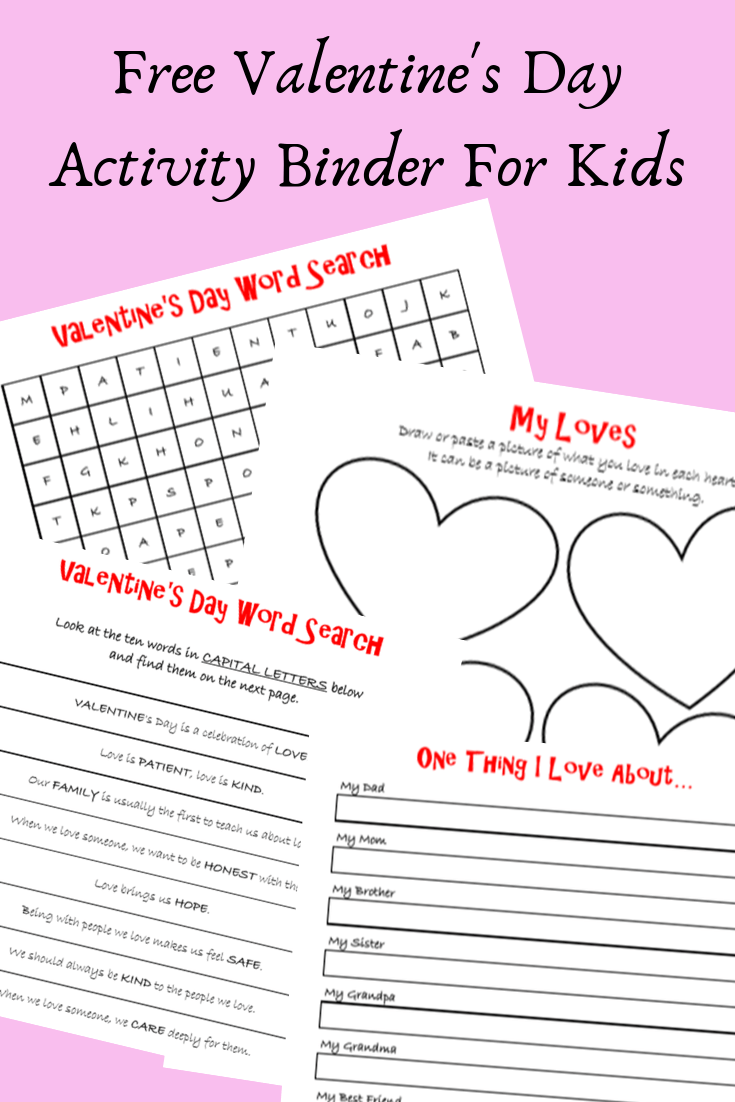 Free Valentine's Day activity binder for kids. #printables #kidsactivities #wordsearch #preschoolactivities