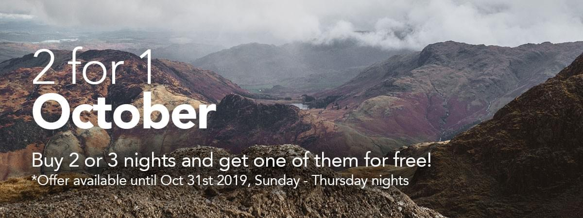 Get 2 for 1 on hotel rooms in the Lake District this October