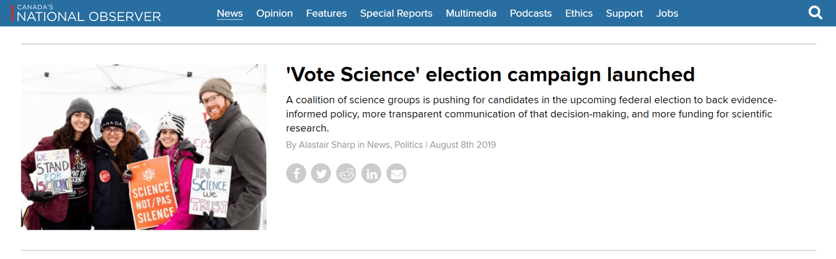 Screenshot of article in National Observer, featuring headline: 'Vote Science' election campaign launched.