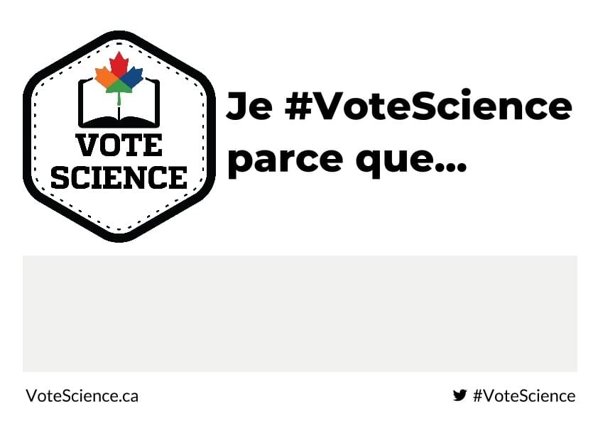 "This is a #VoteScience selfie template featuring the Vote Science logo, site, hashtag and the words ""I #VoteScience because...."""