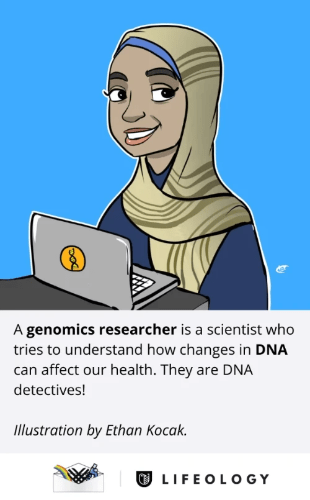 Farah in cartoon form. Text: A genomics researcher is a scientist who tries to understand how changes in DNA can affect our health. They are DNA detectives!