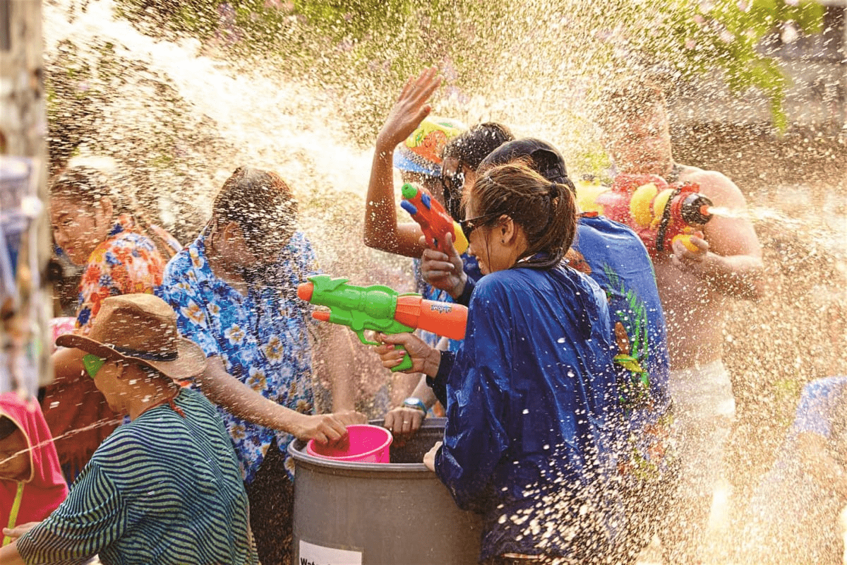 The water festival celebrates the Thai New Year, lasting all weekend long.